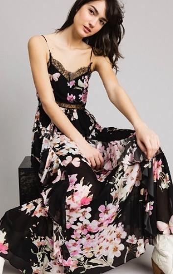 Vestido Largo NEGRO FLORAL